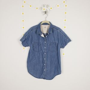 Fossil Short Sleeved Denim Chambray Button Down